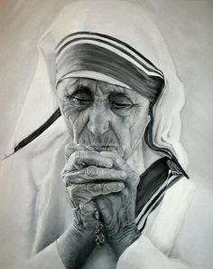 Pencil Drawing Of Mother Teresa....❤