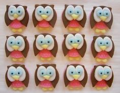 Edible Owl Cupcake Toppers  Girl Owl Fondant by CakesAndKids, $22.00