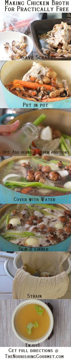 Making a delicious and nourishing chicken broth using scraps!