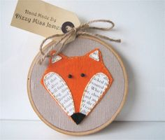 Mr Fox Hand Stitched Embroidery Hoop Wall Art by DizzyMissJames
