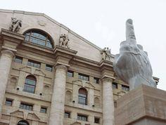 maurizio cattelan Milan.  Piazza Affari.  Milano Stock Exchange Board