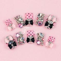 I will make these too. Japanese 3D Nail Art, Press On Nails, False Nails - Pink Polka Dots Nails, Ribbon Nails, Hot Item (T105N). $28.00, via Etsy.
