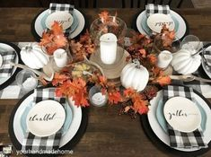 Buffalo Check Decor Ideas for Christmas, autumn and year-round decorations - fall-decor-ideas - Thanksgiving Thanksgiving Decorations, Seasonal Decor, Christmas Decorations, Thanksgiving Ideas, Rustic Thanksgiving Decor, Thanksgiving Table Settings, Fall Home Decor, Autumn Home, Blue Fall Decor