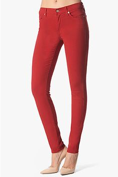 7 for All Mankind the Skinny Jeans in Flame Red Brushed Twill
