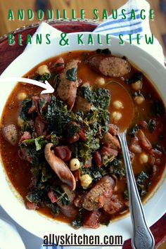 What's great about this product is that it tastes like sausage but it has no pork. It's got that Cajun spiciness and the hardwood smoked flavor. #veganstew #easystewrecipe Easy Stew Recipes, Dinner Recipes, My Favorite Food, Favorite Recipes, Vegan Stew, Turkey Dishes, Everyday Food, Chowders, Quick Easy Meals
