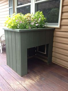 Dog Door - Hometalk :: A New Porch Is Not Complete Without Flower Boxes flower box hides a doggy door Pet Door, Diy Doggie Door, Doggy Doors, Door With Dog Door, Dog Area, Dog Rooms, Dog Houses, Flower Boxes, Diy Flowers
