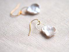Large White & Peach Keshi Pearl Gold Filled Earrings