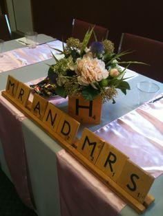 Check out these great Scrabble Wedding center pieces and decor. can make them for your wedding reception or shower. Me and josh love scrabble! Reception Decorations, Wedding Centerpieces, Wedding Table, Wedding Reception, Our Wedding, Dream Wedding, Scrabble Wedding, Teacher Wedding, Cute Wedding Ideas