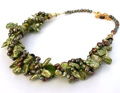 Bead Trends Featured - Green Pearl Necklace by InspiredTheory on Etsy