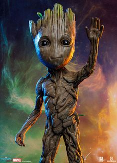 Marvel Baby Groot Maquette by Sideshow Collectibles Cross Paintings, Small Paintings, Oil Paintings, Baby Groot Drawing, Image Swag, Cartoon Trees, Superhero Poster, Black Panthers, Foto Baby