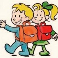 Stock Image: Boy and girl going to school School Days, Back To School, Dinosaur Art, Learning Spanish, Lent, Clipart, Bowser, Nepal, Smurfs