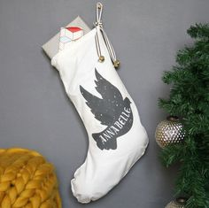 Personalised Dove Name Christmas Stocking