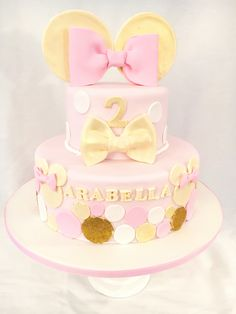 Pink and gold Minnie Mouse Cake, by Amy Hart