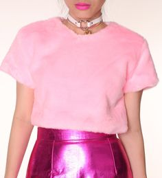 Pink fur Crop Top
