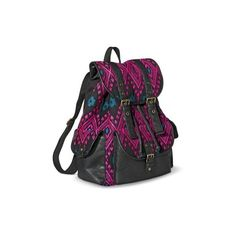 Mossimo Supply Co. Pink Print Backpack Handbag Black ($30) ❤ liked on Polyvore featuring bags, backpacks, knapsack bag, mossimo, pink rucksack, pattern backpack and backpacks bags