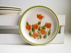 Dinnerware set, 4 MEADOWBROOK dessert plates, mod orange poppy, Japan China stoneware, bread and butter plates, Vera pop art dishes 1970s by TheHaystackNeedle1 on Etsy