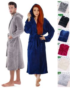 194f8cfff6 Sleepwear and Robes 166697  Winter Warm Bathrobe Men Women Long Sleeve  Hooded Spa Robe Dressing
