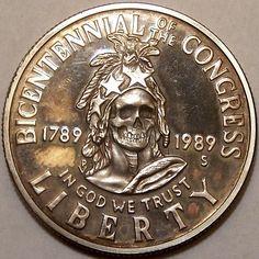 JOHN HUGHEY HOBO DOLLAR - SKULL - 1989 CONGRESSIONAL COMMEMORATIVE HALF DOLLAR