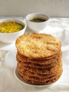sindhi pakwan -   1.5 cups all purpose flour/maida 1.5 cups whole wheat flour/atta 1 tsp ajwain/carom seeds 1 tsp cumin 1 tsp crushed black pepper 1 tsp salt ¾ cup water or as required 2 tsp oil or ghee