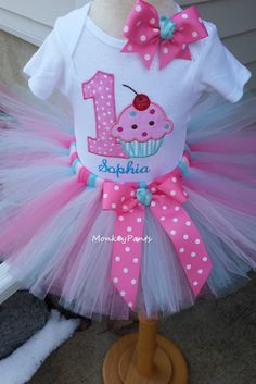 SPRING SALE - 1st Birthday Tutu Outfit - Baby Girls Sprinkles Party Outfit - Pink and Aqua Cupcake Tutu - Sprinkles Birthday Party by MonkeyPantsPartyHats on Etsy https://www.etsy.com/listing/271000901/spring-sale-1st-birthday-tutu-outfit