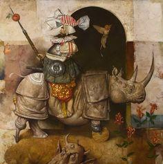 Surrealism and Visionary art: Daron Mouradian Surrealism Painting, Pop Surrealism, Arte Lowbrow, Rhino Art, Art Visionnaire, Art Du Monde, Magic Realism, Art Academy, Visionary Art