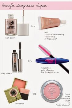 Benefit drug store dupes. Perfect because I love benefit but it's just so expensive!                                                                                                                                                                                 Plus