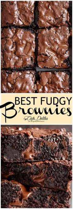 Worlds Best Fudgiest Brownies is my best brownie recipe! Perfect crisp crackly top, super fudgy centre, chewy or gooey in all the right places, studded with melted chunks of chocolate. Each ingredient comes measured AND weighed Kakao Brownies, Brownies Cacao, Gooey Brownies, Baking Brownies, Recipe For Chewy Brownies, One Bowl Brownies, Cherry Brownies, Beste Brownies, Brownie Recipes