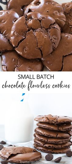 Small Batch Flourless Chocolate Cookies - Butter and Bliss Small Batch Flourless Chocolate Cookies! An easy recipe for 6 fudgy cookies with crinkled tops and Flourless Chocolate Cookies, Soft Chocolate Chip Cookies, Chocolate Flavors, Chocolate Recipes, Small Batch Cookie Recipe, Small Batch Baking, Brownie Cookies, Shortbread Cookies, Cookie Recipes