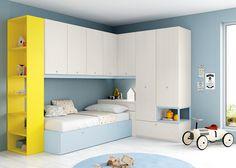 Habitación juvenil con puente, a medida, aprovechando el espacio. Antaix en En DERBE MUEBLES Madrid