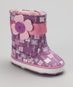 Take a look at this Pink & Purple Lil Orchid Rain Boot by Natural Steps on #zulily today!