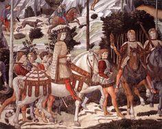 """""""Procesión del Mago Baltasar (detalle) (4)"""", frescos de Benozzo Gozzoli (1420-1497, Italy)"""