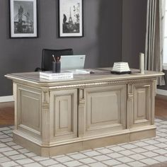 White Executive Desk With Drawers shabby cottage chic large white office executive desk 8 drawers