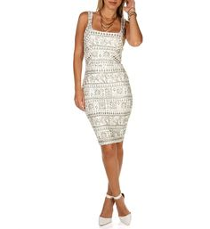 11/11/14  Brand/Designer: Windsor Print: General Print Material: Metallic /Polyester /Spandex Dress Length: Midi-Dress Dress Silhouette: Bodycon Embellishments: Lined Size Category: Adult Hand Wash Line Dry