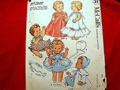 "Vintage 1950s Baby Doll Clothes Pattern UNCUT fits 19"" Dolls by PatternsFromThePast"
