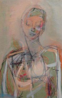 """Kate Long Stevenson """"Woman, Parma"""" oil, gouache, oil pastel + charcoal on linen, """"18x28"""""""