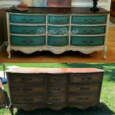 French Provincial dresser before and after, refinished in CeCe Caldwells paints #cececaldwellspaints