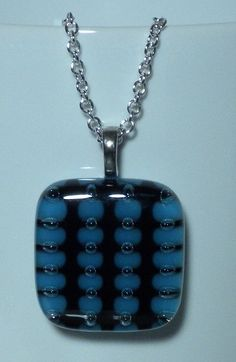 Pendant - Fused Glass - Turquoise Blue, Black Colors with Air Bubbles - P136