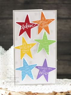 You Are a Star card by Laurie Schmidlin. Reverse Confetti stamp set and coordinating Confetti Cuts: You Are a Star. Birthday card. Congratulations card. Encouragement card. Friendship card. Graduation card.