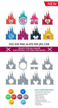 Disney Castle SVG - Magic Kingdom Svg - Princess Castle Svg Monogram Frame Cut Files - SVG DXF Silhouette Studio Cricut Png Eps Pdf Ai Cdr by PremiumSVG on Etsy https://www.etsy.com/listing/276421476/disney-castle-svg-magic-kingdom-svg Disney Castle Silhouette, Silhouette Cameo Disney, Silhouette Cameo Projects Gifts, Silouette Cameo Projects, Disney Silhouette Printables, Disney Princess Silhouette, Mickey Silhouette, Disney Shirts, Disney Fonts