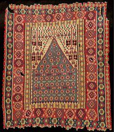 Early Fine Erzerum 'Prayer Kilim', Tribal Rug, Persian Rug, Prayer Rug, Kilim Rugs, Bohemian Rug, Wool, Textiles, Antiques, Rugs On Carpet