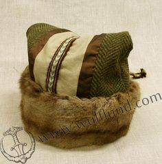 VIKING CAP, wool, fur, tablet weaving
