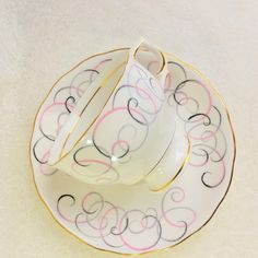 COLCLOUGH / Bone China Tea Cup and Saucer/Pink and Grey Swirls/ Vintage Teacup /Stunning Collectible by HoneyandBumble on Etsy