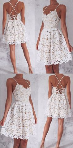 A-Line Spaghetti Straps Homecoming Dress,Lace-Up White Lace Short Homecoming Dress,Sleeveless Sweet 16 Cocktail Dress,Homecoming Dress HY58