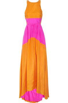Tibi|Color-block sandwashed-silk maxi dress|NET-A-PORTER.COM