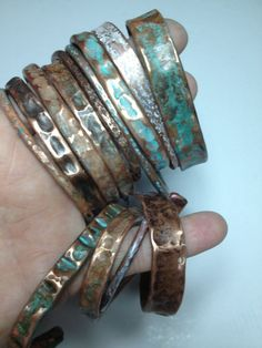13 patina cuffs stacked bracelets handmade copper jewelry hand hammered