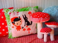 http://romulyyli.blogspot.fi/ cute kawaii red riding hood , shabby chic woodland fairytale inspired soft furnishings for grimm and fairy girls big or small , I love these it looks like my illustration logo for my art, craft and gift  brand miyo and miy board will be up soon my grimm and fairy friends