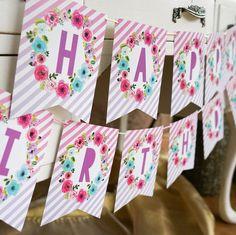 Printable Unicorn Happy Birthday Banner
