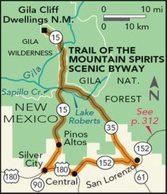 Trail of the Mountain Spirits Scenic Byway Road Trip — National Geographic – Best Motorcycles New Mexico Road Trip, Travel New Mexico, New Mexico Usa, Silver City New Mexico, Mexico Vacation, Road Trip Map, Road Maps, Wilderness Trail, Holidays To Mexico