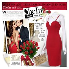 """""""SheIn - ALLURE AND TIMELESS ELEGANCE IN ONE: Simple red dress!"""" by anita-n ❤ liked on Polyvore featuring moda y Dolce&Gabbana"""