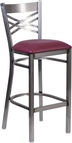 HERCULES Series Clear Coated ''X'' Back Metal Restaurant Barstool in Burgundy Vinyl Seat - Flash Furniture metal barstool is a popular choice for furnishing restaurants, pool halls, lounges, bars and other high traffic establish Black Bar Stools, 30 Bar Stools, Metal Bar Stools, Swivel Bar Stools, Counter Stools, Restaurant Bar Stools, Walnut Wood, Furniture Collection, Hercules